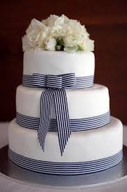 navy and white striped ribbon image of fondant wedding cake wedding cake design wedding cake
