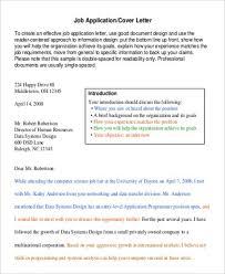 cover letter sample job application