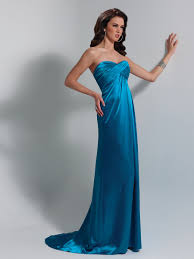 sweetheart plain ice blue elastic silk like satin empire style