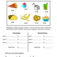 snack bar money worksheet 2