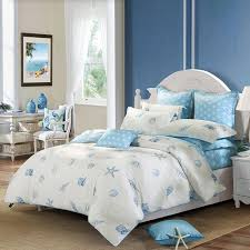 Seashell Duvet Cover Off White And Blue Ocean Style Marine Life Seashell And Starfish