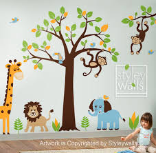 Giraffe Baby Decorations Nursery by Children Wall Decal Safari Tree Decal Jungle Animals Decal Huge