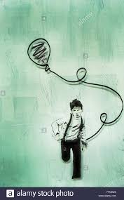 street art marker drawing of a boy running with a balloon in his