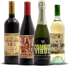 funny and spooky halloween wine bottle stickers embalming juice