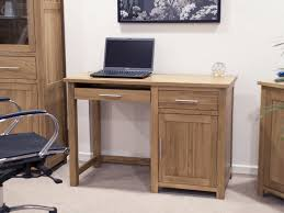 simple small wood computer desk with drawer and single door cabinet