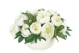 Peony Floral Arrangement Peony Flower Arrangement White White Resin Bowl Ndi Faux Floral
