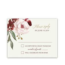 rsvp cards for wedding fall floral wedding rsvp postcard burgundy blush gold