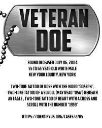 unidentified persons veteran doe