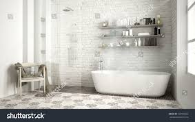 scandinavian bathroom classic white vintage interior stock