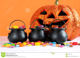 free halloween orange background pumpkin happy halloween candy in trick or treat carry cauldrons with