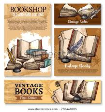 templates for bookshop old vintage books sketch poster banner stock vector hd royalty free