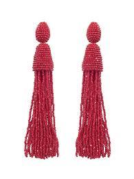 oscar de la renta long tassel earrings in red lyst