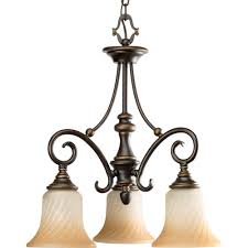 Forged Chandeliers Progress Lighting Kensington Collection 3 Light Forged Bronze