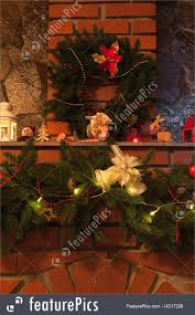holidays christmas decorated fireplace stock picture i4317209