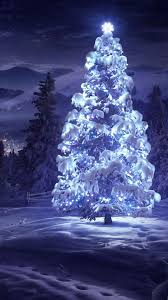 christmas tree snow blue lights android wallpaper free download