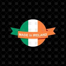 made in ireland emblem irish flag ribbon vector clipart image