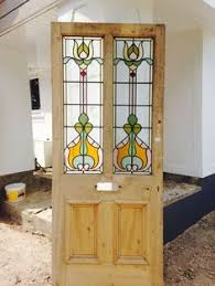 old glass doors edwardian style three over one panel stained glass front door