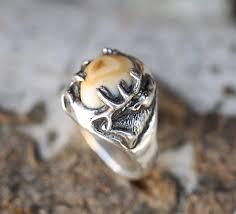 ivory ring custom carved elk tooth elk ivory ring staghead designs