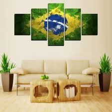 Livingroom Wall Art Aliexpress Com Buy 5 Panels Brazil Flag Painting For Living Room