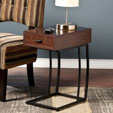 side table with power outlet sei geneva side table with power and usb outlets walnut bjs