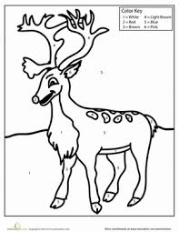 color by number rudolph worksheet education com