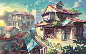 hd anime scenery town village modern concept art