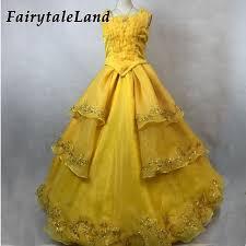 Belle Halloween Costume Women Aliexpress Buy Emma Watson Yellow Belle Dress Halloween