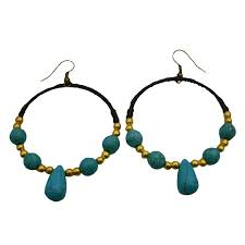 trendy earrings fashion knitted wax chord earrings w gold turquoise