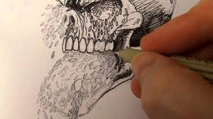 inking maggoty skull with pigma micron pen youtube