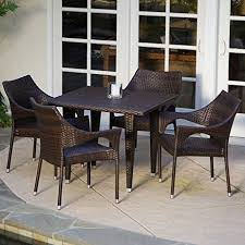 Stackable Patio Furniture Set Amazon Com Del Mar Patio Furniture 5 Piece Outdoor Wicker