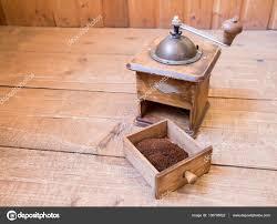 Manual Coffee Grinders Vintage Manual Coffee Grinder Standing On A Wooden Surface U2014 Stock