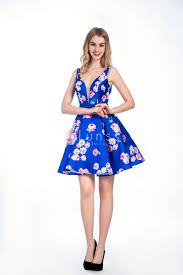 vintage floral print royal blue sleeveless cocktail dress with