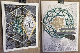 layered and stamped geometric christmas cards spellbinders