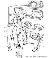 pet dog coloring pages boy dog play ball coloring pages