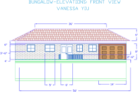 House Elevation Dimensions by Autocad Bungalow Elevations Vanessa U0027s Portfolio