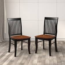 Solid Wood Dining Chairs Furniture Of America Nora Two Tone Solid Wood Slat Back Dining