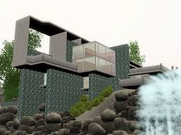 sims 3 futuristic falling water house by ramborocky on deviantart