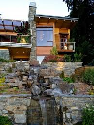 natural house design with waterfall ideas decoration with natural