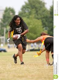 Flag Football Play Designer Female Flag Football Player Avoids Defender Editorial Image