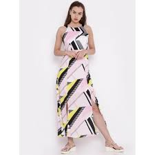 buy code by lifestyle women pink printed maxi dress online