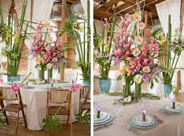Tropical Theme Wedding - tropical inspired wedding tabletop from blossom floral artistry