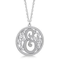 monogram necklace pendant custom single initial monogram pendant necklace sterling silver