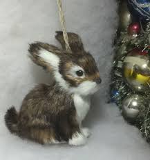 woodland rabbit faux fur tree ornament woodland animal