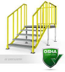 Handrail Requirements Osha Portable Stairs Left Entry Erectastep