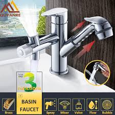 kitchen faucet with spray quyanre pull out sprayer basin sink faucet chrome kitchen faucet