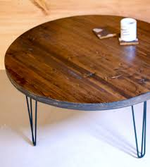 round hairpin coffee table reclaimed wood round coffee table with hairpin legs hairpin legs