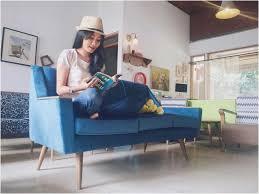 Wohnzimmer Modern Vintage Bild Einrichtungsideen Wohnzimmer Vintage 3 Sitzer Sofa Blau Lapazca