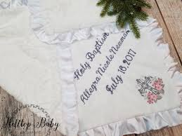 keepsake baby gift white personalized custom baptism baby blanket baptism keepsake