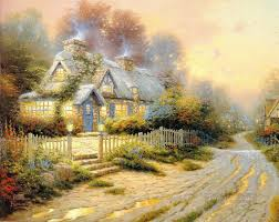 teacup cottage kinkade painting in for sale