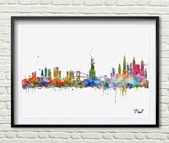 New York City Home Decor Amazon Com New York City Wall Hanging Map Skyline Art Print New